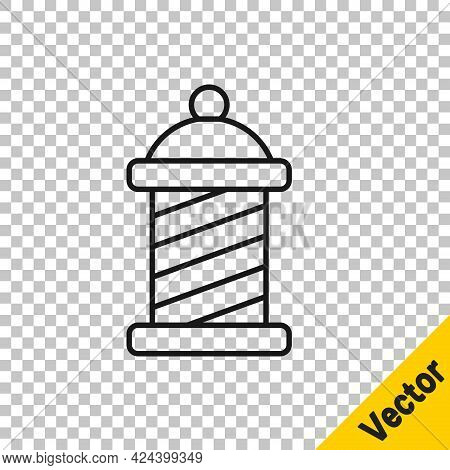 Black Line Classic Barber Shop Pole Icon Isolated On Transparent Background. Barbershop Pole Symbol.