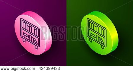 Isometric Line Shelf With Books Icon Isolated On Purple And Green Background. Shelves Sign. Circle B