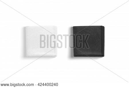 Blaank Blank And White Folded Big Towel Mockup, Top View, 3d Rendering. Empty Soft Washcloth Or Jack