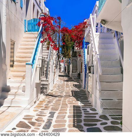 Greece , Cyclades. Charming whitewashed narrow streets of beautiful Mykonos island. typical cycladic architecture