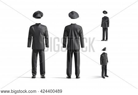 Blank Black Chef Uniform Mock Up, Front And Side View, 3d Rendering. Empty Protective Suit For Kitch