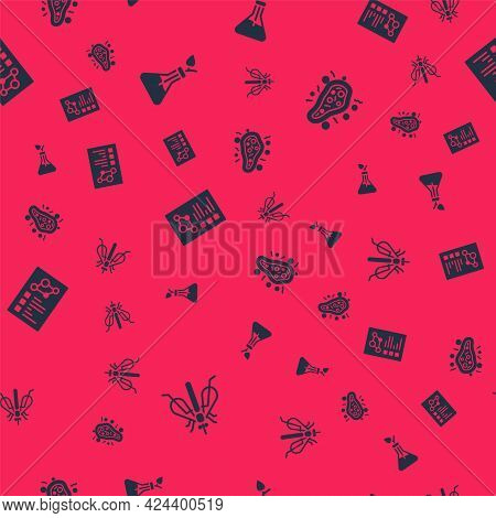 Set Experimental Insect, Plant Breeding, Clinical Record And Bacteria On Seamless Pattern. Vector