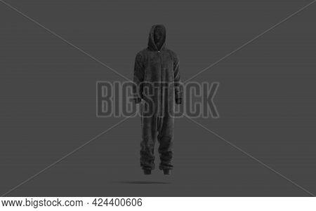 Blank Black Plush Jumpsuit With Hood Mockup, Dark Background, 3d Rendering. Empty Plushy Nightwear F