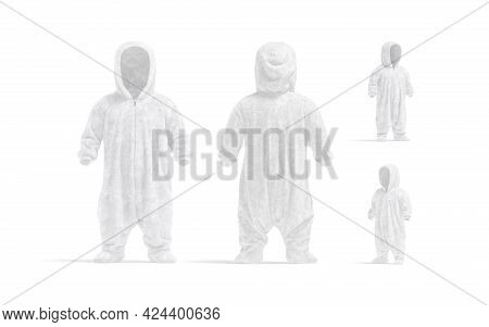 Blank White Kid Plush Jumpsuit With Hood Mockup, Different Views, 3d Rendering. Empty Hooded Apparel
