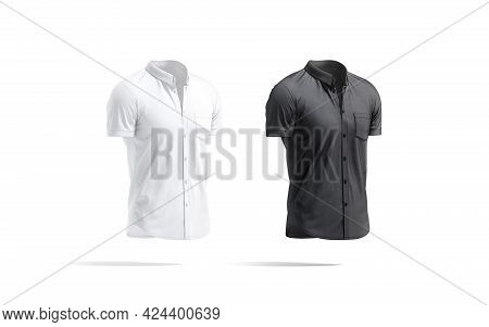 Blank Black And White Short Sleeve Button Down Shirt Mockup, 3d Rendering. Empty Classic Cloth Tee-s