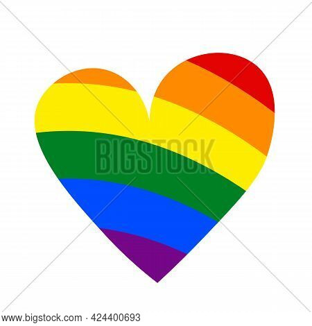 Heart Shape In Flag Lgbt Color, Doodle Style. Lgbt Icon. Template Design, Vector Illustration. Love