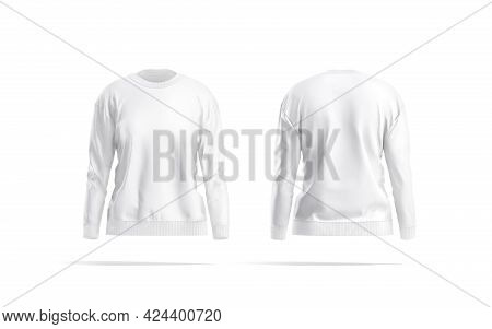 Blank White Women Sweatshirt Mockup, Front And Back View, 3d Rendering. Empty Fleece Or Fabric Sweat