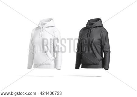 Blank Black And White Women Sport Hoodie Mockup, Side View, 3d Rendering. Empty Female Textile Outfi