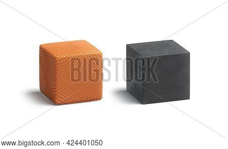 Blank Orange And Black Rubber Basketball Cube Mockup Set, 3d Rendering. Empty Cuboid With Textured S