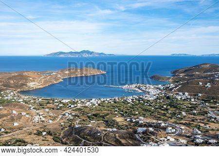 Serifos Island, Greece, Cyclades, Aerial Drone View Of Livadi And Port