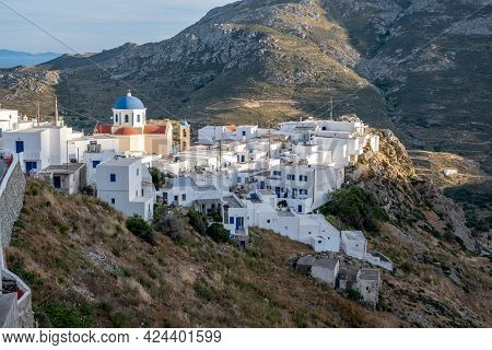Cyclades, Greece. Serifos Island, Aerial View Of Chora Town