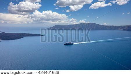Ferry Boat With Destination Greek Cyclades, Santorini Island, Cyclades, Greece.