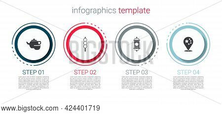 Set Chinese Tea Ceremony, Meatballs Wooden Stick, Paper Lantern And China Flag. Business Infographic