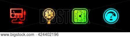 Set Multimeter, Voltmeter, Pressure Water, Clock And Speedometer Icon. Vector