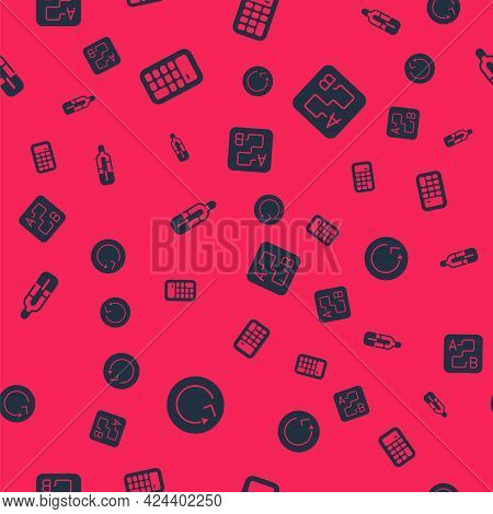 Set Radius, Calculator, Medical Thermometer And Route Location On Seamless Pattern. Vector
