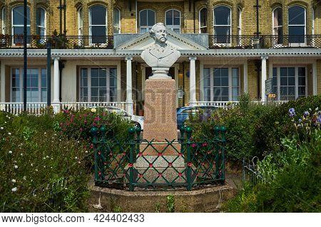 Ramsgate, United Kingdom - June 8, 2021: Memorial Bust Of Ew Pugin. The Bust Of Ew Pugin Made By Owe