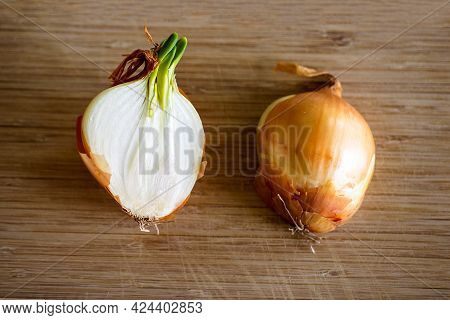 A Sprouting Bulb Or Common Onion Cut In Half And Lying On A Wooden Surface. The Layers Of The Vegeta