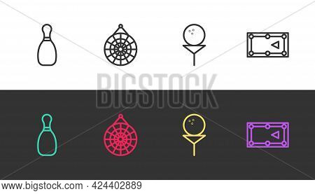 Set Line Bowling Pin, Classic Dart Board, Golf Ball On Tee And Billiard Table On Black And White. Ve