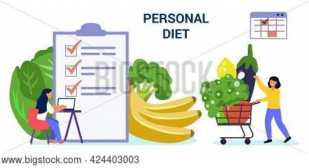 Diet Plan Vector Website Template Tiny People Nutritionist And Diet Plan Checklist With Vegetables A