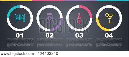Set Line Saloon Door, Beer Can, Champagne Bottle And Martini Glass. Business Infographic Template. V