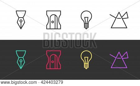 Set Line Fountain Pen Nib, Pencil Sharpener, Light Bulb With Concept Of Idea And Rays Prism On Black
