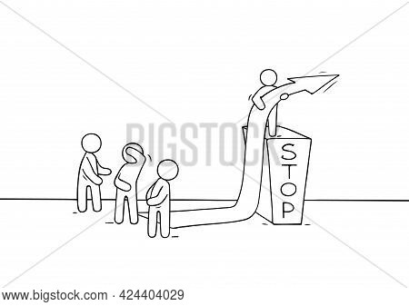 Sketch Of Little People With Bariier. Doodle Cartoon Scene About Overcoming The Obstacle. Hand Drawn