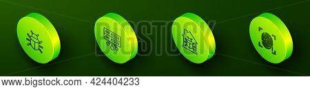 Set Isometric Line System Bug, Server, Data, Web Hosting, House System And Fingerprint Icon. Vector