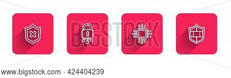 Set Line Shield With Cross Mark, Cyber Security, Processor Microcircuits Cpu And Brick Wall With Lon