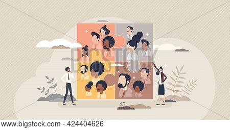 Business Teams And Partnership Connection For Common Goal Tiny Person Concept. Teamwork Power And Co