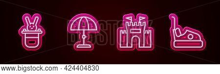 Set Line Magician Hat And Rabbit, Sun Protective Umbrella, Castle And Bumper Car. Glowing Neon Icon.