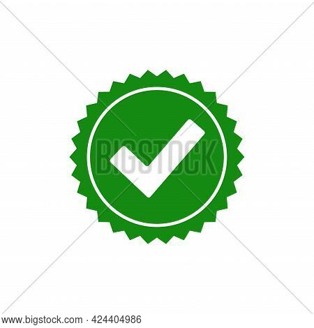 Seal Stamp Icon. Check Mark Quality Guarantee Symbol. Certificate Badge Icon. Ok Icon