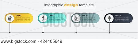Set Line Neptune Trident, Ancient Bust Sculpture, Dagger And Amphorae. Business Infographic Template