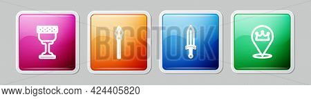 Set Line Medieval Goblet, Spear, Sword And Location King Crown. Colorful Square Button. Vector