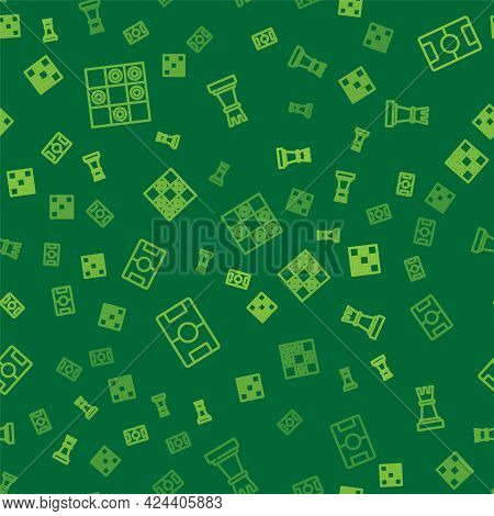 Set Line Board Game Of Checkers, Hockey Table And Chess On Seamless Pattern. Vector