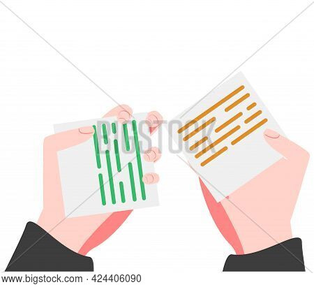 The Voting Process, Bidding, Hands Raised Up With Papers. Sale And Buy. Thin Outline Vector Illustra