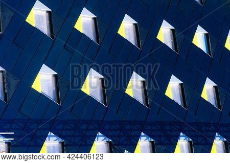 Abstract Minimal Style Architecture Background. Modern Building Facade Detail. Geometric Dark Navy C