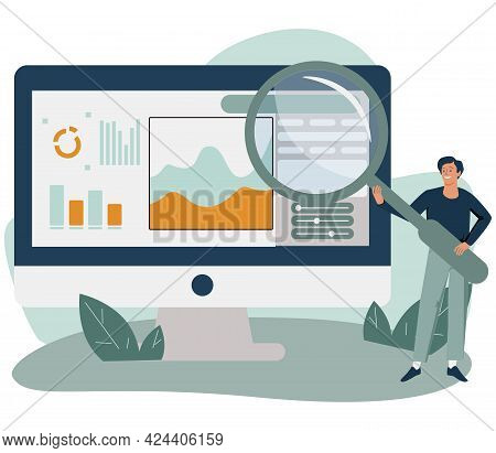 Analyst With Loupe Looking At Diagram Or Trend On Computer Screen. Concept Of Web Analytics, Statist
