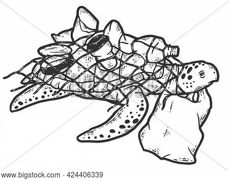 Turtle In Net With Plastic Bottles, Concept Cleanliness. Sketch Scratch Board Imitation Coloring.