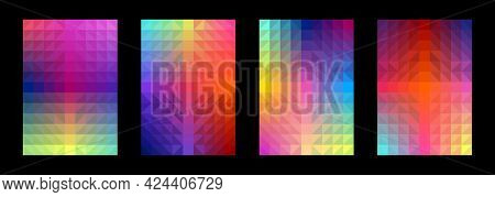 Abstract Geometric Pattern Set. Gradient Triangle Square. Colorful Background. Template Design For P