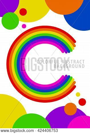 Colorful Circle Background Pattern. Letter C With Rounded Ends, Rainbow Gradient. Template Design Fo