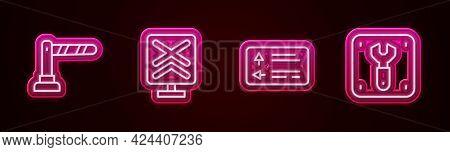 Set Line Railway Barrier, Railroad Crossing, Road Traffic Signpost And Repair Of Railway. Glowing Ne