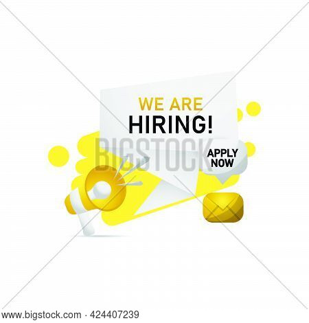 Illustration Job Vacancy Megaphone With Banner Hiring On White Background