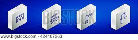 Set Isometric Line Bridge For Train, Draisine Handcar, Railway Barrier And Train Station Bell Icon.