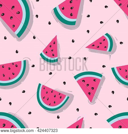 Seamless Pattern With Watermelon. Colorfull Pattern For Textile. Watermelon On Pink Background. Vect