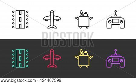 Set Line Airport Runway, Plane, Trolley For Food And Drone Remote Control On Black And White. Vector
