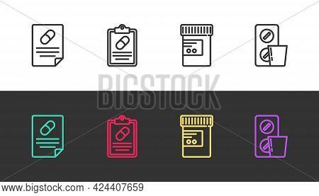 Set Line Medical Prescription, , Medicine Bottle And Pills And Pills Blister Pack On Black And White