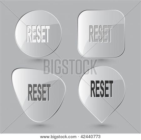 Reset. Glass buttons. Raster illustration.