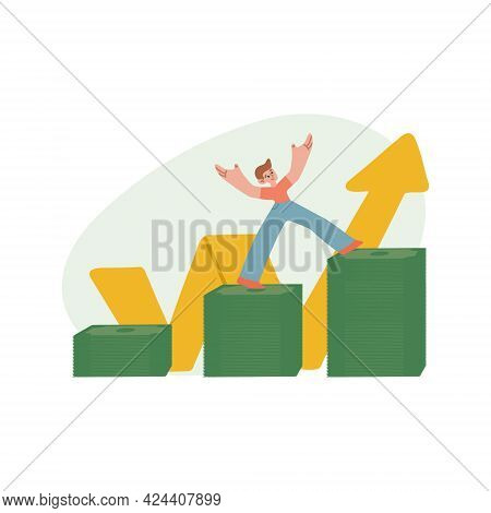 Financial Literacy. The Boy Succeeds In Saving Money. Disposal Of Pocket Money. Isolated Vector Illu