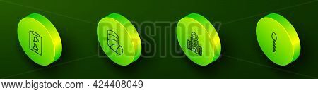 Set Isometric Line X-ray Shots, Gypsum, Medical Hospital Building And Sperm Icon. Vector