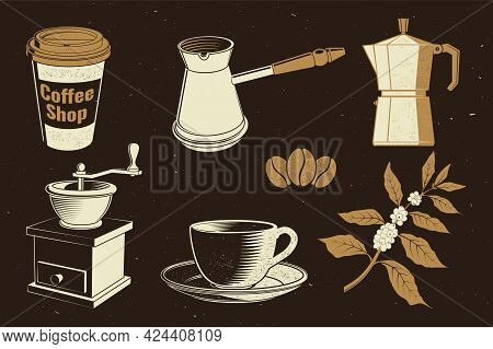Vintage Coffee Equipment. Vector. Set Include Paper Coffee Cup, Grinder, Beans, Cup And Branch Of Co